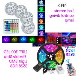 32FT Flexible 3528 RGB LED SMD Strip Light Remote 4x Submers