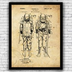 Deep Sea Diving Diver's Suit Patent Art Print Decor - Size a