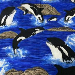 FQ Black White Orca Whale Jump Splash Dive blue water Cotton