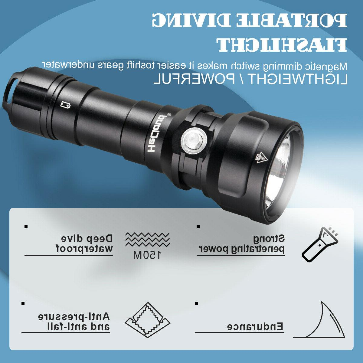 LED Waterproof Torch Set W/Charger Battery