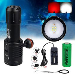 Photograph 6x White+Red LED Diving Flashlight Underwater 100