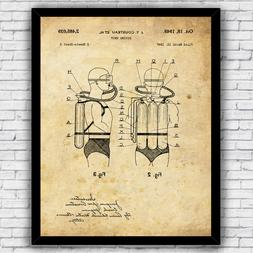 Scuba Diving Tank Jacques Cousteau Patent Wall Art Print, Si
