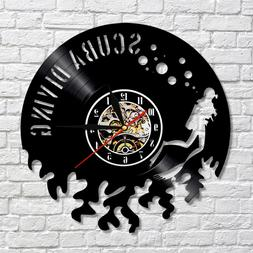 Scuba Diving Vinyl Record Wall Clock Underwather Diving Swim