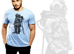 Vintage retro t-shirt, underwater, steam punk, diving suit,